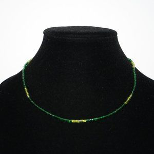 """Green and yellow glass bead necklace 17"""""""